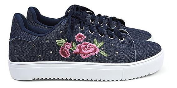 Tênis Jeans Bordado Floral