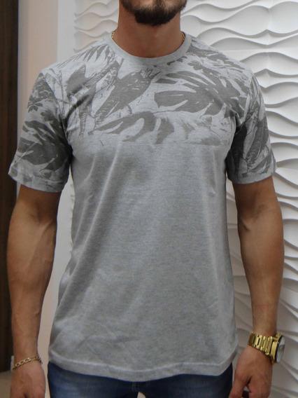 Camiseta Camisa Masculina Manga Curta Estampa Floral Mescla