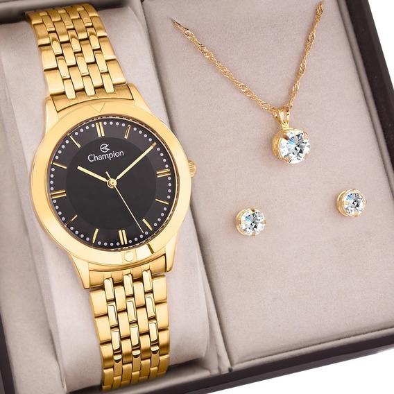 Kit Relógio Champion Feminino Dourado C/ Semi Joias Ch21985k