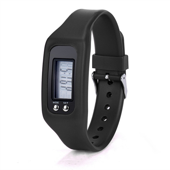 Relógio Pulseira Pedômetro E Contador De Passos Preto