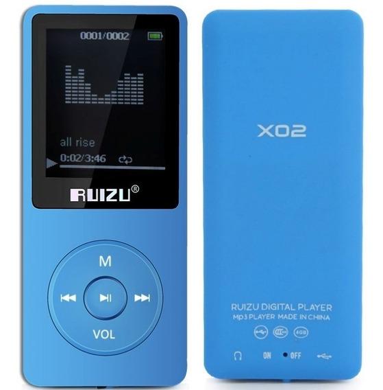 Mp4 Player 8gb Ruizu Original X02 Multimídia Mp3 Musicas Academia Corrida Arquivos Visor Rádio Fm Gravador + Fone Ouvido