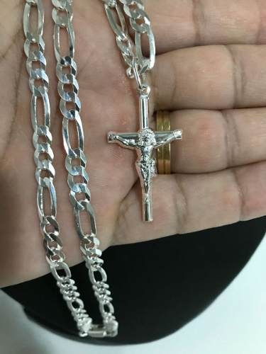 Corrente Cordao Prata Maciça 925 3 E 1 Grossa 60cm Crucifixo