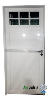 Puerta Aluminio 80x200 1/4 Vidrio Repartido Con Vidrios 4mm