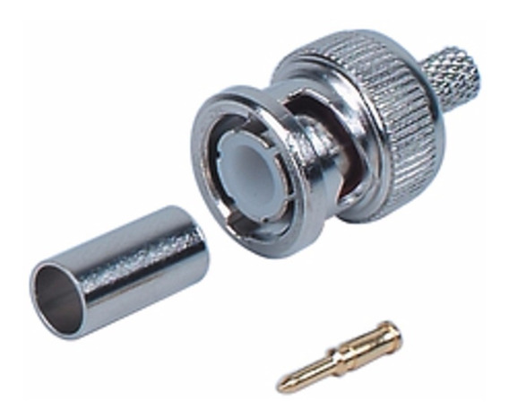 Conector Bnc Crimpear Macho Seguridad P/ Rg-59 Cctv.