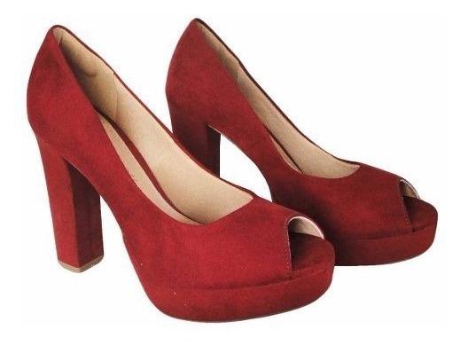 Sapato Peep Toe Mariotta Salto 10,5cm Camurca- 1725571 Vinho