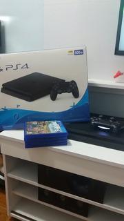 Ps4 Super Slim Na Caixa Completo Com 3 Jogos