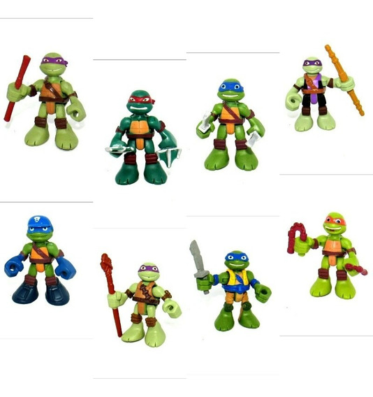 Lote De Bonecos Miniaturas Tartarugas Ninjas Playskool Playm