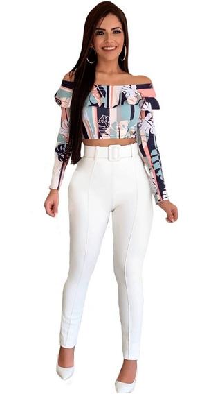 Calça Branca Preta Vinho Cintura Alta Cós Coladinha Skinny