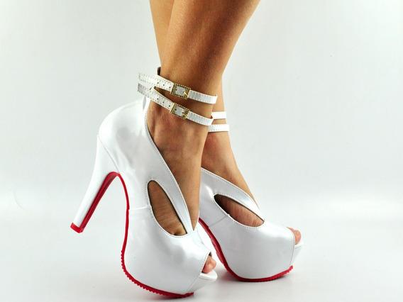 Sapato Peep Toe Salto Alto Fino/brinde Incrível