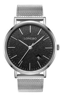 Relógio Longbo Marca Man Silver Black