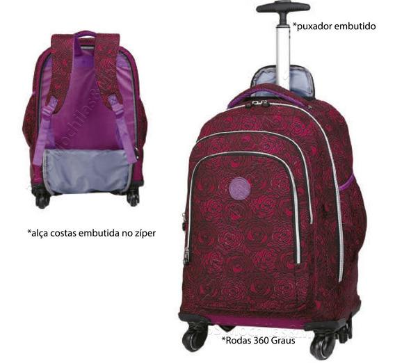 Mochila Carrinho Rodas 360º Bolsa Juveni Viagem Escolar Tm10