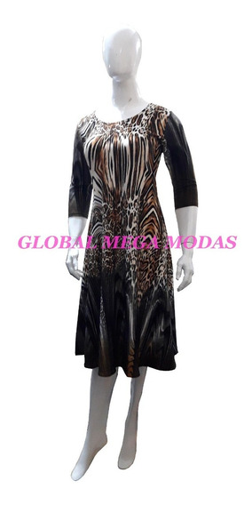 Vestido Midi Moda Evangélica Evasê Rodado Vestido Gode