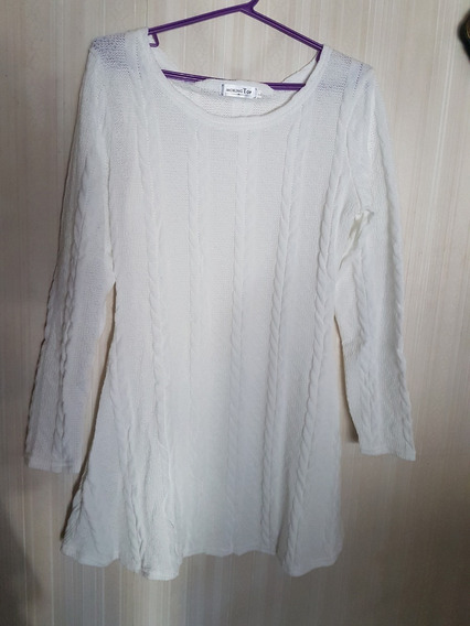 Vestido Color Crema, Tejido, Marca Morking Top.