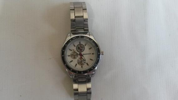 Relógio Unissex Backer Analógico Prata E Branco