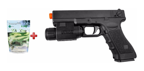 Pistola Airsoft Elétrica Glock Cm030+ Lanterna S. Arms+ Bbs