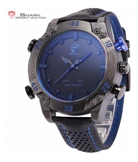 Relógio Masculino Shark Anadigi Sh-263 - Preto E Azul
