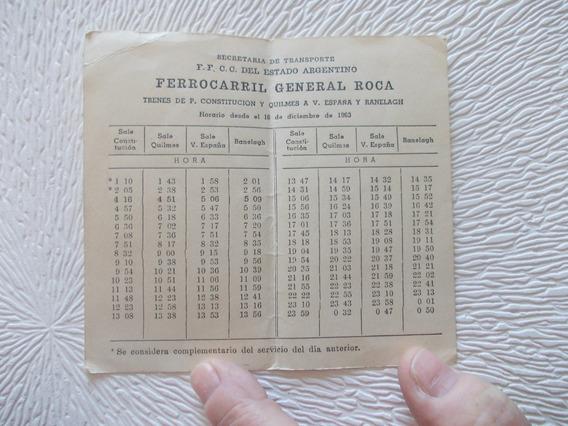 8541- Ferrocarril Gral. Roca Horarios 16/12/1963