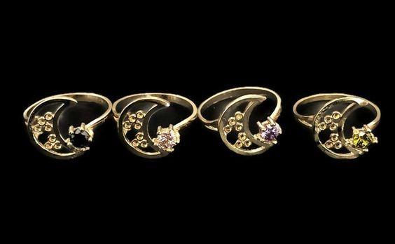 Anillo De Luna Con Zirconia Chapa De Oro 14k 10pzs+envio