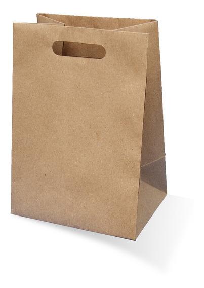 10 Bolsas Asas Suajadas Papel Kraft Alimentos 24.5x18.5x35cm
