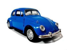 Fusca Miniatura Azul De Ferro 1/32 13cm Para Colecionador