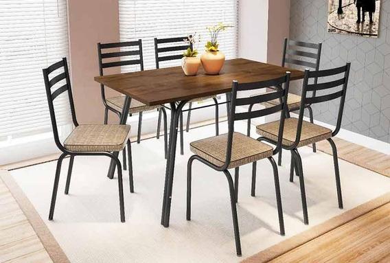 Conjunto Mesa De Jantar Com 6 Cadeiras Lotus Preto