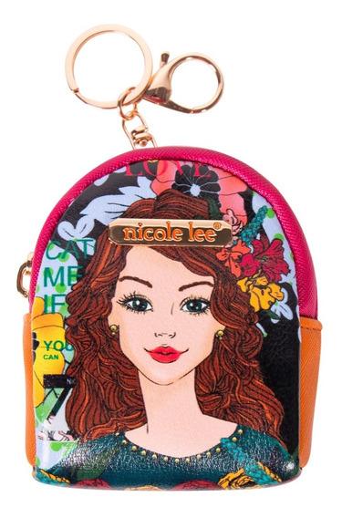 Monedero Tipo Backpack Nicole Lee Tevy Estampado Con Llavero Fw19