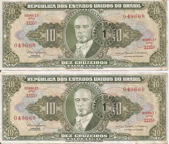 Cédula 10 Cruzeiros Carimbada 1 Centavo 2 Notas Série 3235a.