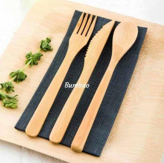 Cubiertos De Bambú 3 Piezas Cubierto Ecológico Sustentables