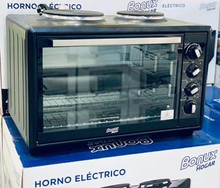 Horno Electrico Bonux Hogar 42lt + 2 Anafes Electricos 3100w