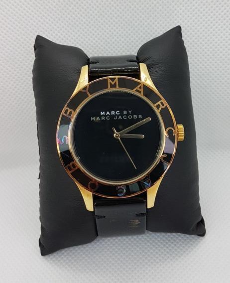 Relógio Marc By Marc Jacobs Preto Com Dourado Pulseira Couro