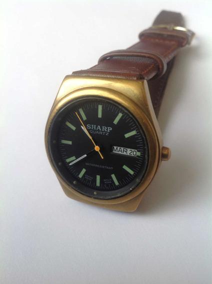 Reloj Sharp Doble Fechador Chapa Oro Cuarzo