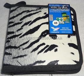 Porta Cd-48 De Semicuero Tigre Resistente Cierre Dvd Blu-ray