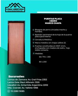 Puerta Placa Cedro Marco Chapa 80 X 2 Mts