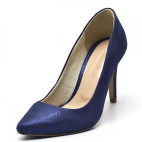 Scarpin Feminino Azul Cintilante Salto Alto Frete Grátis