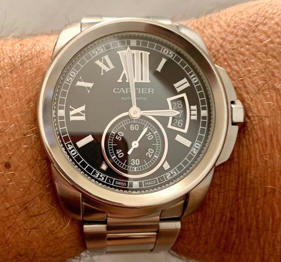 Relógio Cartier Calibre Aço Fundo Preto, Perfeito