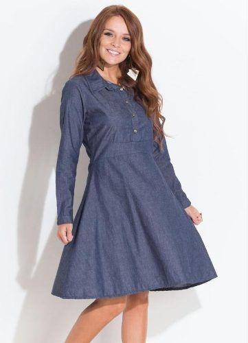 7ffda713242c Vestido Jeans Abertura Frontal - Vestidos Femeninos Casual Azul ...