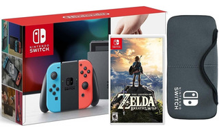 Nintendo Switch + Zelda Breath Of The Wild. Neon + Estuche
