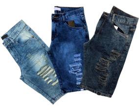 Kt Com 5 Bermudas Jeans Rasgada Desfiada Lançamento Destoyed