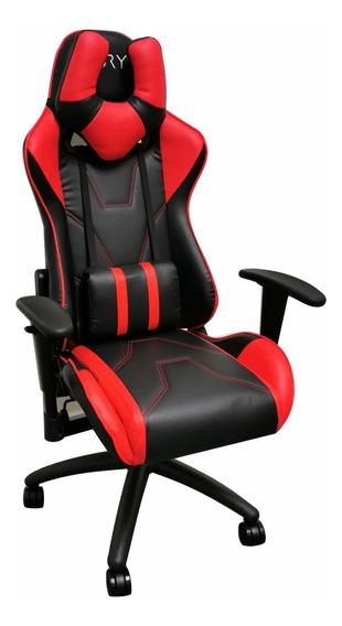 Cadeira Gamer Fury 7005 - Braço Ajustável, Reclin 180º Verm.