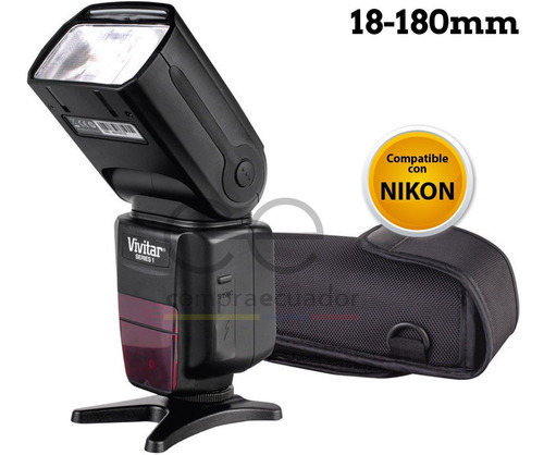 Imagen 1 de 6 de Vivitar Flash Para Camara Profesional Compatible Nikon I-ttl
