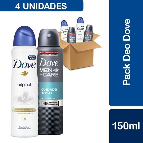 Pack 2 Desodorante Dove Clean Comfort + 2 Dove Original Anti