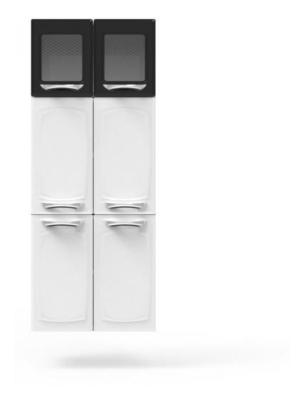 Paneleiro Colormaq Leblon Light 6 Portas Em Aço E Vidro