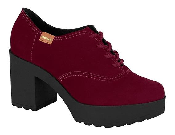 Sapato Oxford Moleca Nobuck - Salto Tratorado