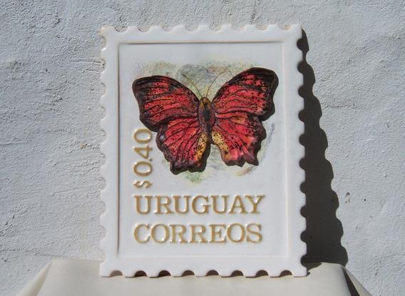 Hist.* Cuadro Escultura Mariposa Sello Postal Uruguay -envío