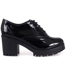 Sapato Bebece Oxford Salto Tratorado7,5cm- 5614429 Ptoverniz