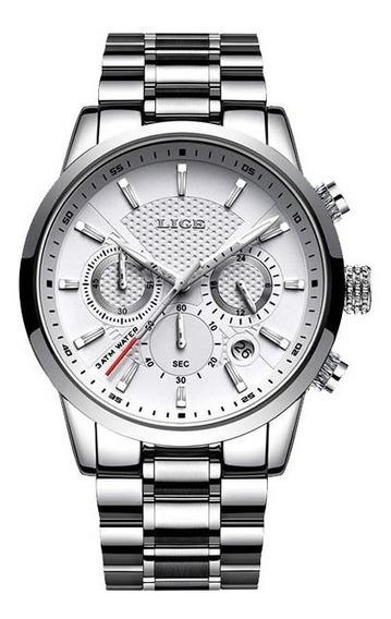 Relógio Masculino Lige 9866 Pulseira De Aço Preto