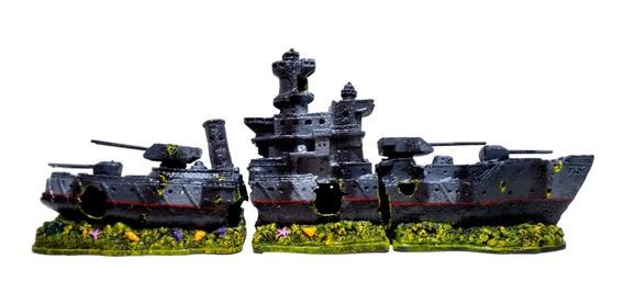 Enfeite Para Aquário Barco Fragata 753 - 3 Partes