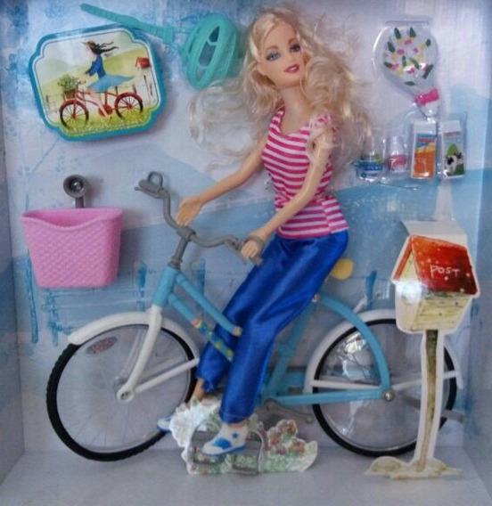 Boneca Bicicleta Capacete P/ Barbie Ever After Cesta C/ Luz
