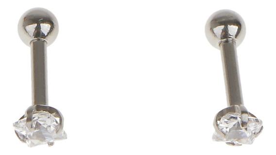 Par De Aço Quadrado De Zircão Cartilagem Tragus Lábio Bri