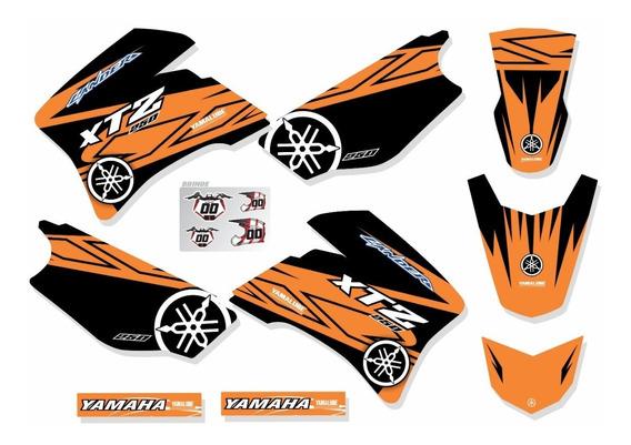 Adesivos Moto Trilha Yamaha Xtz 250 Lander Laranja Ca-16149